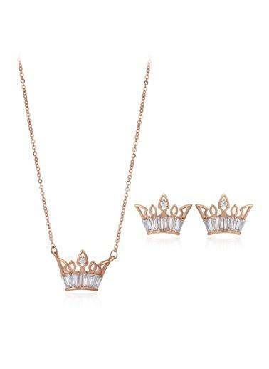 Tophills Diamond Co. 1,80 Ct Pırlanta Efekt Altın Crown Trapes Roz Set Renkli